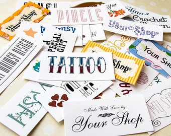 Custom Order Fabric Labels, Your Logo, Your Text, Various Sizes, 100% Cotton, Colorfast, 60-80 Labels Depending on Size, Uncut