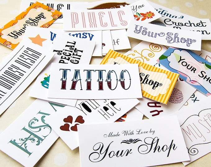 Custom Fabric Labels, Your Logo, Your Text, 100% Cotton, Colorfast, 60-80 Labels Depending on Size, Uncut, Personalized Tags, Color Printed