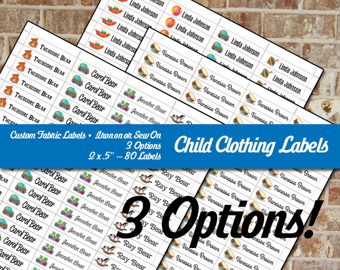 "Children's Clothing Labels - Custom Fabric Iron on or Sew on - Three Options - 80 Labels Uncut - 2 x .5"" Washable Cotton"