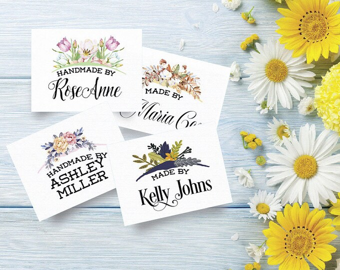 "Custom Fabric Labels, 4 Floral Bouquet Styles, Iron/Sew On, 2""W x 1.5""H, 100% Cotton, Colorfast, For Quilts, Crochet, Knitting, Cutting Fee"