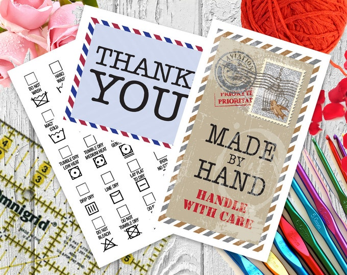 Laundry Care Tags With International Postal Design, Matching Thank You Notes for Handmade Items, Printable on Pre-perorated Business Cards