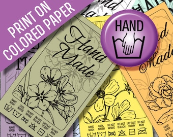 Laundry Tag Printables: Hand Wash Black Line Art Print on Colored Paper