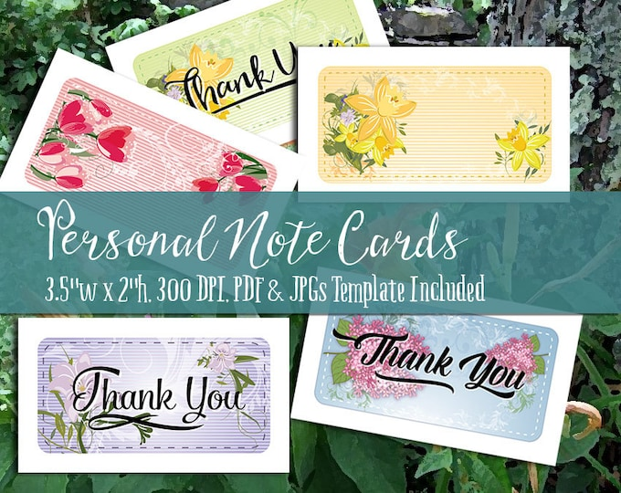 Personal Note Cards and Thank You Notes - Printable PDF and JPGs, 300 DPI, Business Card Size - Works with Avery Business Cards - 5 Styles