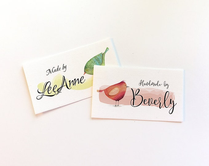 """Fabric Labels, Three Little Watercolor Finches, Sew-on, Iron-on, 48 Labels,  2.25""""W x 1.25""""H, Uncut, Your Name Added, Colorfast 100% Cotton"""