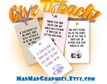 """Gift Tag Printables, Give it back!!!,  300 DPI – 3-1/2"""" x 2"""" – Vector PDF and PNGs"""