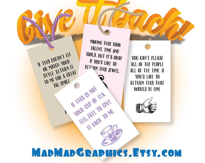 "Gift Tag Printables, Give it back!!!,  300 DPI – 3-1/2"" x 2"" – Vector PDF and PNGs"