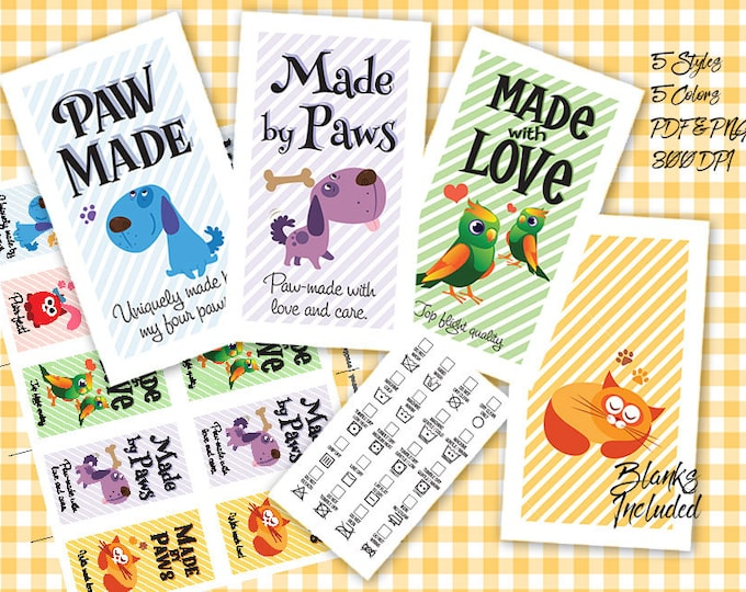 "Laundry Care Tags Printables- 300 DPI – 3-1/2"" x 2"" – Vector PDF and PNGs -Pets Theme Business Card Size"