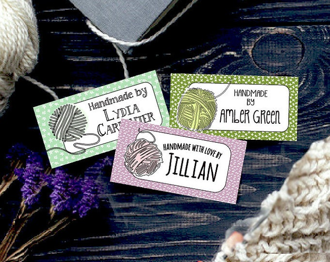 "Custom Fabric Labels, Boho Yarn Art, 2"" x 1"", 9 Styles, Earthtone Colors, 100% Preshrunk Cotton, Uncut, Iron-on, Sew-on"