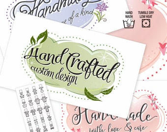 """Sweet Summer Clouds Laundry Care & Gift Tags — 300 DPI – 2 x 3-1/2"""" – Vector PDFs/PNGs, Beautiful Printables —DIY Blanks and Icons Included"""