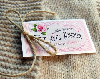 "Care Tags ""Fait Avec Amour""  Super Elegant & Vintage Styles  - 300 DPI – 2 x 3-1/2"" – Vector PDF, PNGs, and JPGs - Beautiful Printables"
