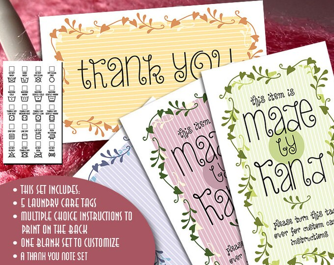 Gift or Laundry Care Tags  - Memory Garden - For Yarn or Fabric Crafts - Business Card Size - Printables - Self-Customizable Tags