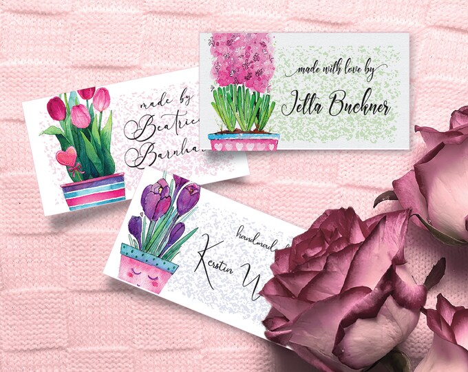 "Fabric Tags and Labels Pink Floral 100% Cotton, Bright and Colorfast Designs, 2.25"" Wide and 1.25""High, 24 Labels Per Sheet"