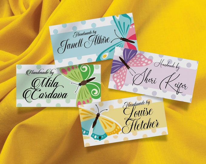 """Custom Name Labels Butterfly Style, 100% Cotton, Bright and Colorfast Designs, 2.25"""" Wide and 1.125"""" High, 28 Labels Per Sheet"""