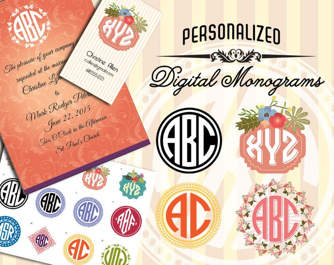 Personalized Monogram Logo or Initials - 12 Styles - Wedding - Stationery - Emblem -  Digital Stamp Clip Art - EPS and 300 DPI PNG - Rounds