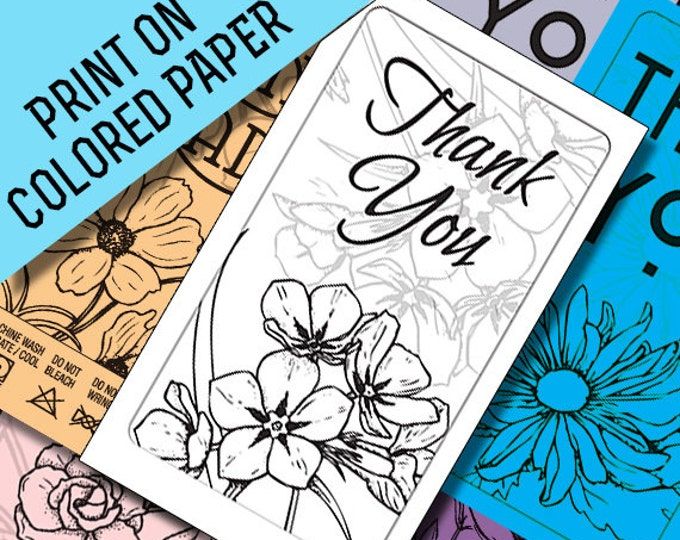 Thank You Card Printables: Black Line Art to Print on Colored Paper Matching Laundry Care Tags