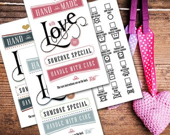 Printable Laundry Care Tags - Elegant Vintage - 2 x 3.5 inches - DIY on Business Card Paper - Beautiful Typography