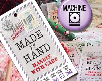Machine Wash Laundry Care Tags, Printables,  for Hand Made Gifts or Sales