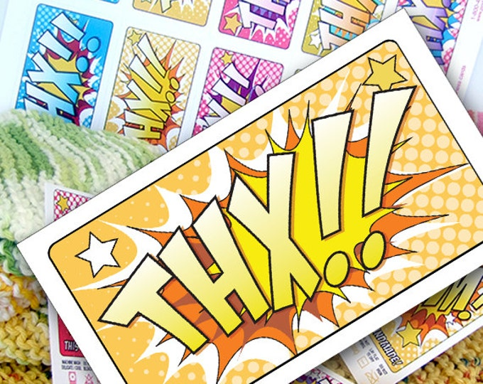 DIY Printable Thank You Notes or Cards Retro Comic Book Style