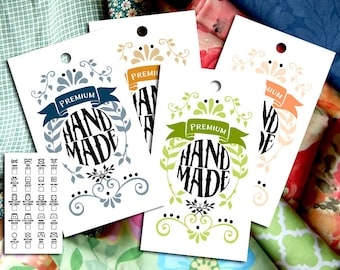"""Vintage Leaves & Doodles Laundry Care Tags – 10 Colors – 300 DPI – 2 x 3-1/2"""" – Vector PDF and PNGs – DIY Printables – Handmade Supply"""