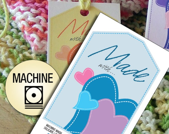 Laundry Care Tags Machine Wash for Hand Made Items