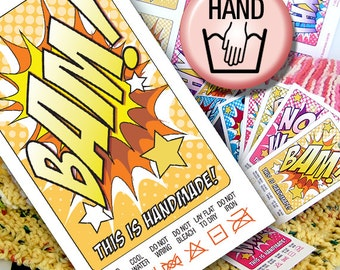DIY Printable Hand Wash Laundry Care Tags or Labels Comic Book Style
