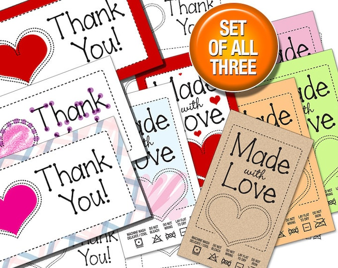 Made With Love Black Line Art Laundry Care Tags and Thank You Notes