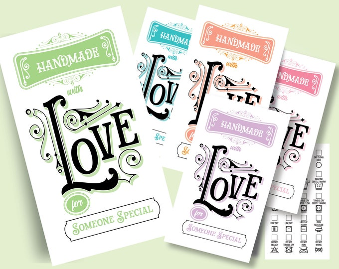 Printable Laundry Care Tags - Vintage Love, 2 x 3.5 inches, DIY on Business Card Paper, Beautiful Typography, 5 Different Colors