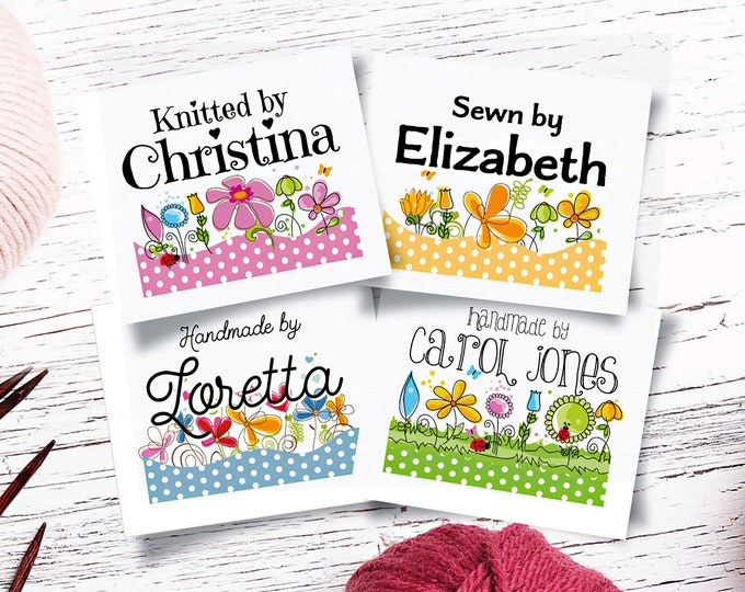 "Custom Fabric Labels, Polka Dot Garden, 4 Styles, Iron on, Sew On, 1.5""W x 1.25""H, 40 Per Sheet, For Quilts, Crochet, Knitting, Uncut"