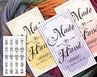 Laundry Care Tags • Gift Tags • Vintage Victorian Style • 5 Antique Colors  • Printable PDF & PNGs • Business Card Size •  Vector Artwork