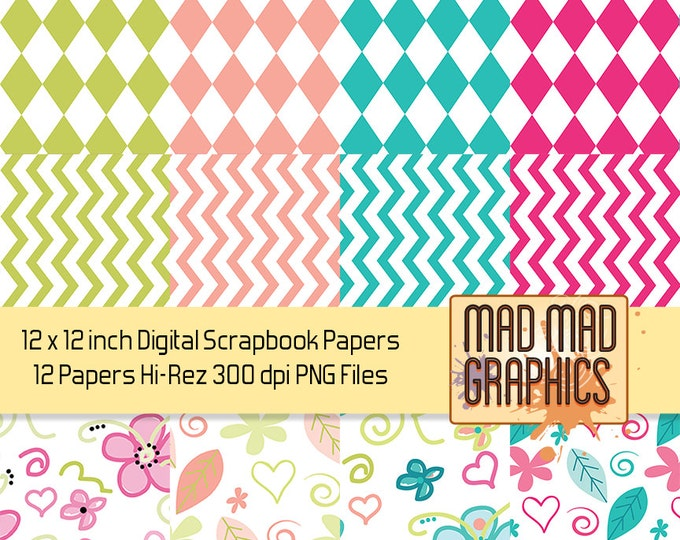Summer Colors -- Diamonds, Chevrons, Flowers -- 12 x 12 Inch Scrapbooking Digital Papers or Clip Art
