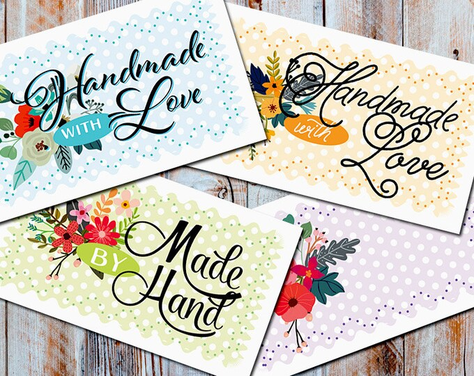 "Petite Fleur  Laundry Care & Gift Tags — 300 DPI – 2 x 3-1/2"" – Vector PDFs/PNGs, Beautiful Printables —DIY Blanks and Icons Included"