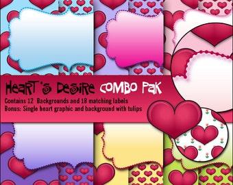 Heart's Desire Combo Pak Digital Valentine's Day Clip Art