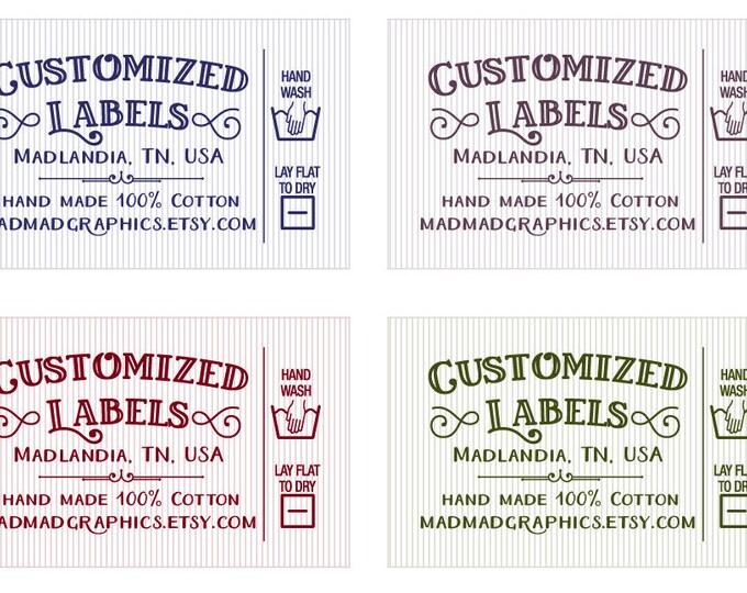 "Custom Fabric Labels, Retro, Care Added, 32 Labels,  2'W x 1.25""H, Uncut,  Colorfast 100% Preshrunk Cotton, CPSIA Compliant"