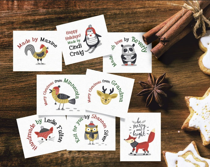"Custom Holiday Fabric Label, Sew-on or Iron-on, 42 Per Sheet, 1.5""W x 1.25""H, Uncut, 8 Festive Holiday Styles with Cute Animals"