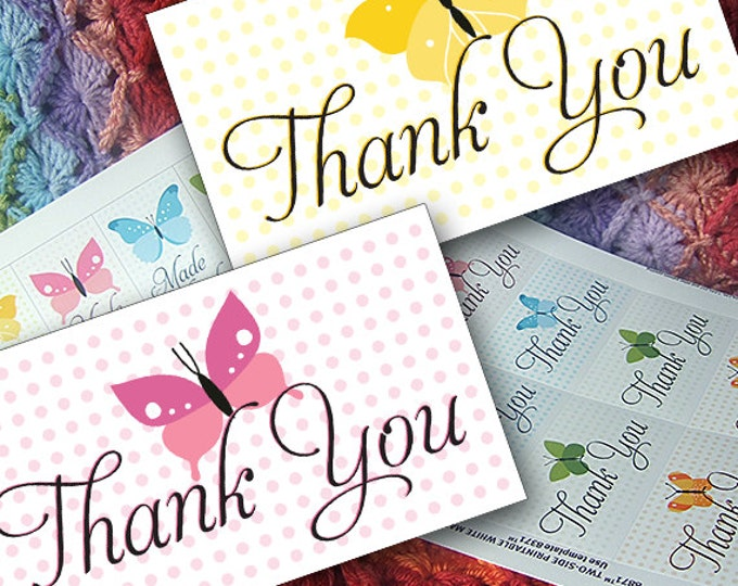 DIY Printable Thank You Notes or Cards with Butterflies and Polka Dots