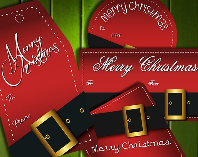 Christmas Gift Tags Printables • Santa's Buckle in Red and Black • 300 DPI • 4 Shapes and Styles