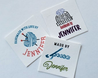 "Custom Fabric Labels, ""Jennifer Made it,"" Boho Designs, for Crochet, Knit, Sewing, Quilting"