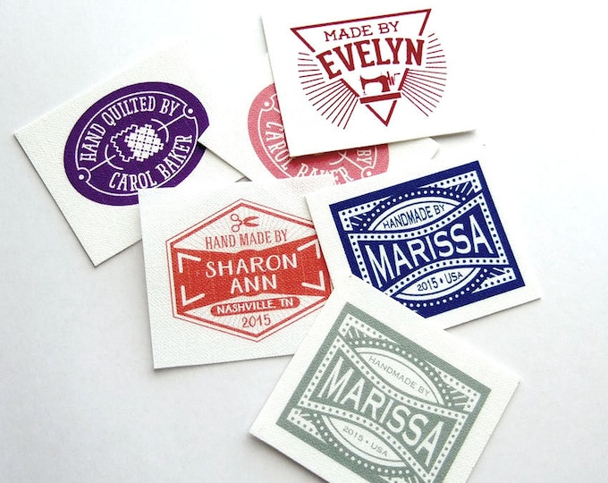 "Retro Fabric Label Styles, 100% Cotton, Bright and Colorfast Designs, 1.5""W X 1.25""h, 40 Per Sheet"