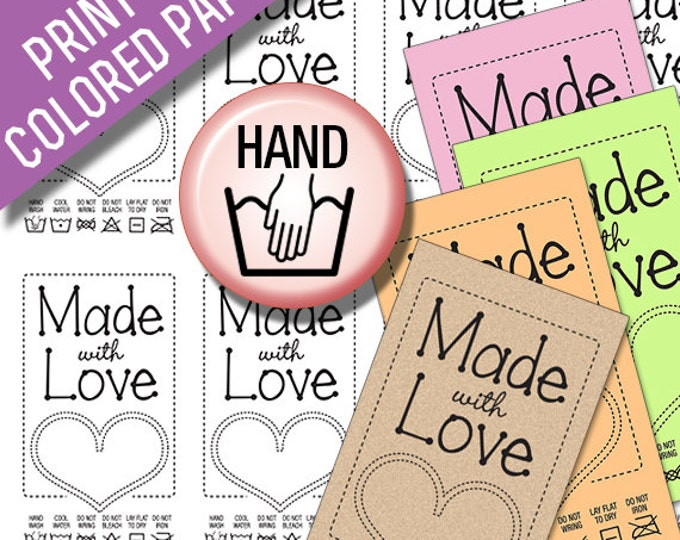 Made With Love Black Line Art Laundry Care Tags for Hand Washing