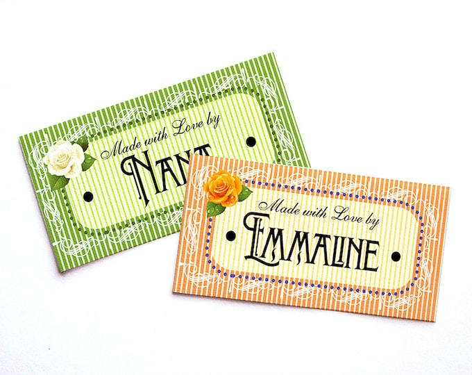 "Romantic French Vintage Style Custom Fabric Labels Sew-on or Iron-on • 54 Labels  2.25 x 1.125"" Uncut • Your Name Added • Five Styles •"