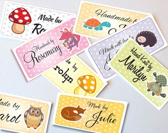 "Custom Fabric Labels Sew-on or Iron-on • 80 Labels  2 x 1"" Uncut • Your Name Added • Colorfast 100% Preshrunk Cotton •   10 Clip Art Animals"