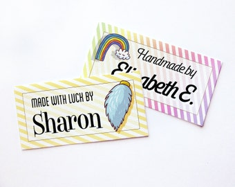 "Lucky Charms! Custom Fabric Labels  • Sew-on or Iron-on • 80 Labels  2 x 1"" Uncut • Your Name Added • Colorfast 100% Preshrunk Cotton"