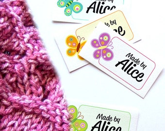 """Ready-To-Go 2 x 1"""" Personalized Fabric Labels - 100% Cotton - Your Name - Four Styles and Colors - 10 Each Color - 40 Labels - Uncut"""