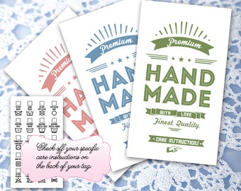 "Vintage Poster Laundry Care Tags – 10 Colors – 300 DPI – 2 x 3-1/2"" – Vector PDF and PNGs – DIY Printables – Clip Art – Handmade Supply"