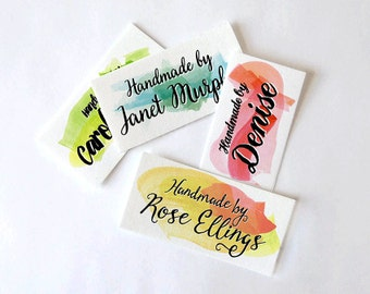 Watercolor Brush Strokes and Boho Script Fonts Custom Fabric Labels • Your Text • Various Sizes • 100% Cotton • Colorfast • Uncut