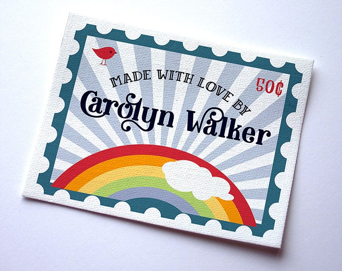 """Fabric Labels Custom,Rainbow Stamps & Styles, Sew-on, Iron-on, 24-30 Labels,  1.75"""" x 2.25"""", Uncut, Your Name Added, Colorfast, 100%  Cotton"""