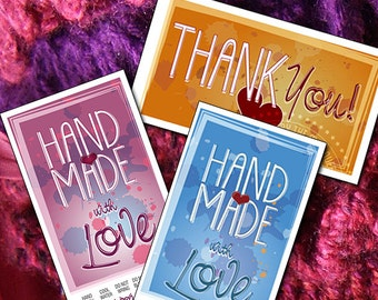 3 Files: Thank You notes,  Hand Wash AND Machine Wash Grunge Tags
