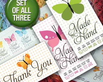 DIY Printable Laundry Care Tags Butterflies and Polka Dots Handwash, Machine Wash & Thank You Cards