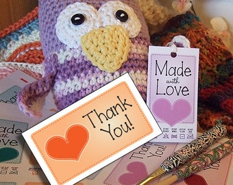 Printable Graphics : Thank You Cards or Tags for Handmade Gifts or Products