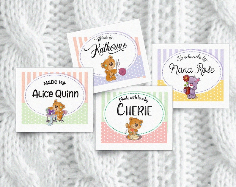 Colorfast 100/% Cotton 1.75W x 1.5H Uncut Iron-on Fabric Labels or Tags Your Name Added Bears that Sew in  Sew-on 28 Per Sheet